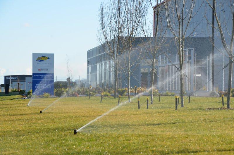 Dakota Business Park, SB Logistics at Christchurch International Airport, irrigation system including trees and lawn.