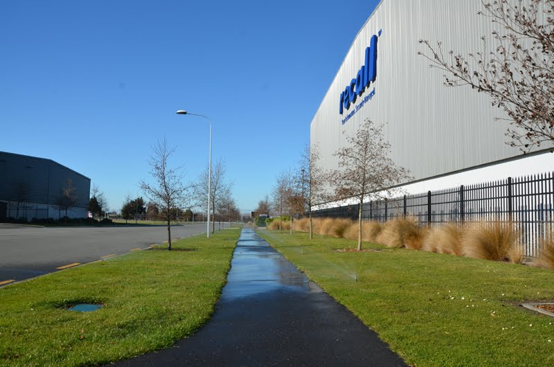 Dakota Business Park' Recall warehouse at Christchurch International Airport, automated irrigation system for street berms and trees.