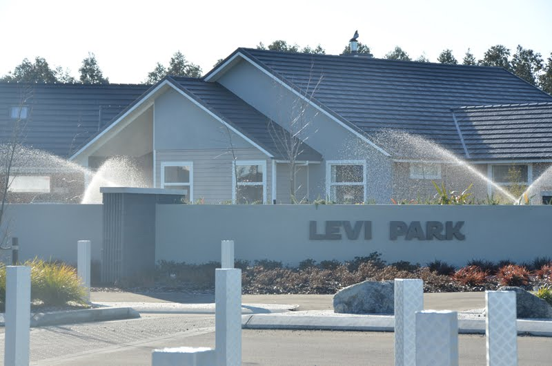 Levi Park Subdivision in Rolleston entrance ways, trees, reserves and garden irrigation.